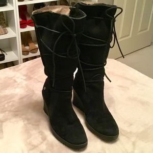 UGG Black Wedge Elsey Suede Mid Calf Boots - 7